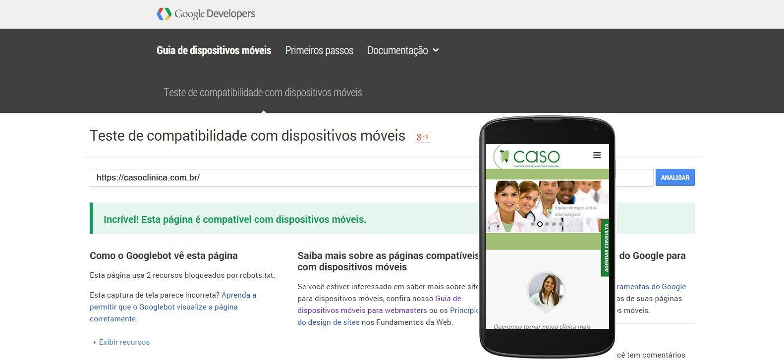 Google Mobile Friendly Clínica CASO