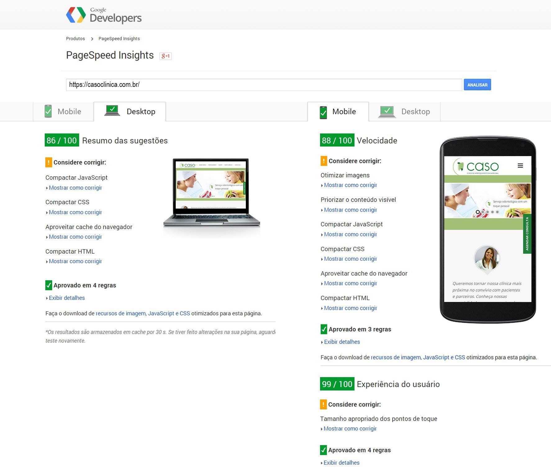Google Page Speed Insights Clínica CASO