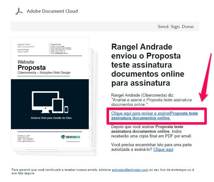 assinar documento eletronicamente pedido email