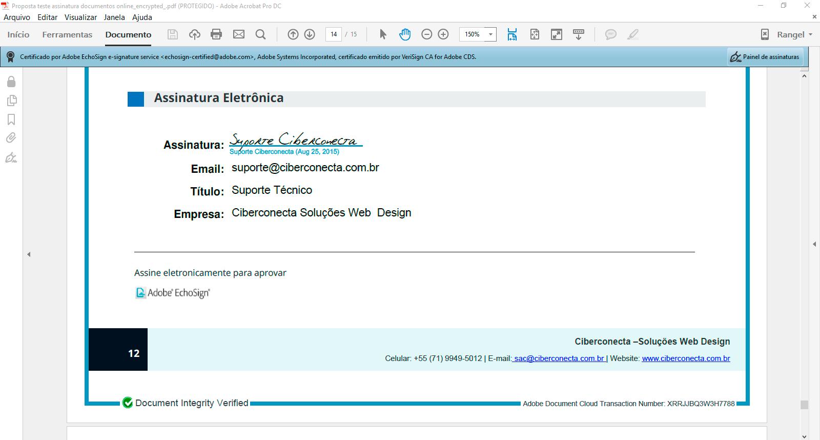 assinar documento eletronicamente validação integridade