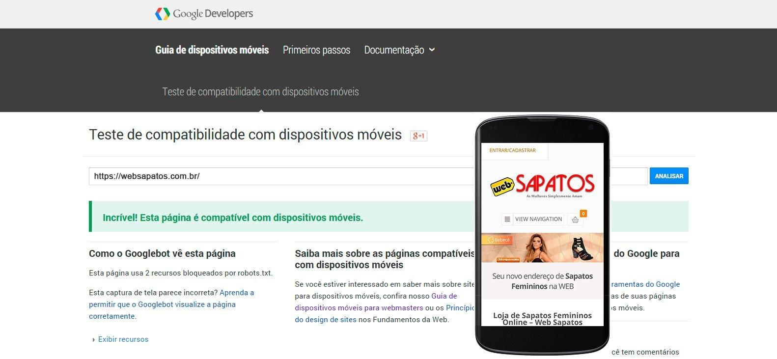 Google Mobile Friendly Web Sapatos
