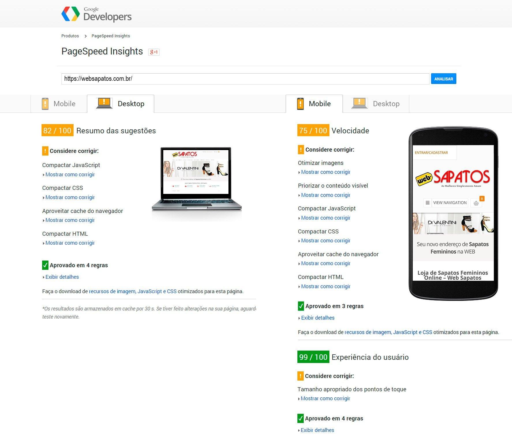 Google Page Speed Insights Websapatos