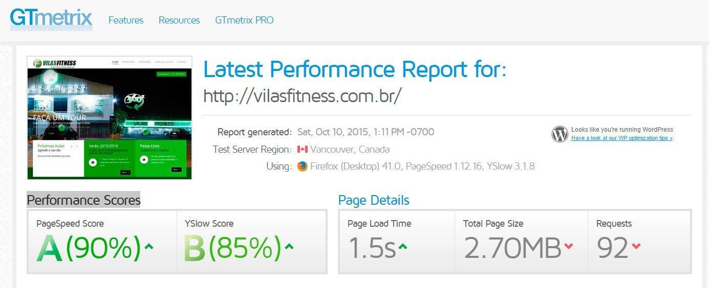 Desempenho GTmetrix Vilas Fitness